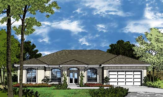 Sunbelt Style Home Design Plan: 96-105