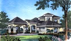 Florida Style Home Design Plan: 96-129