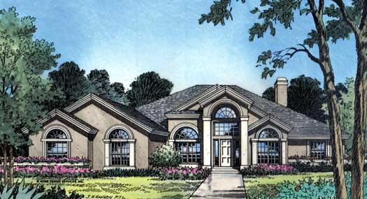 Sunbelt Style Home Design Plan: 96-130