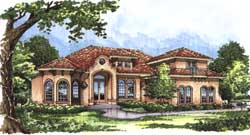 Spanish Style Home Design Plan: 96-135
