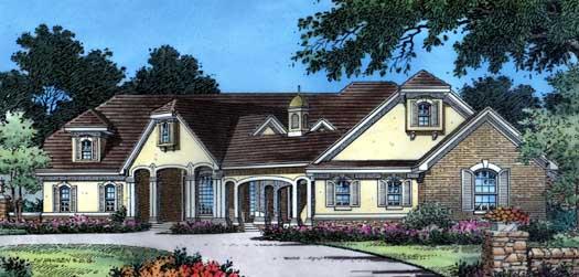 Mediterranean Style Home Design Plan: 96-136