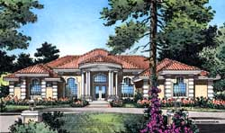 Florida Style Home Design Plan: 96-137