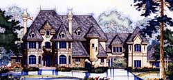 French-Country Style Home Design Plan: 96-145