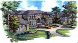 Mediterranean Style Home Design Plan: 96-146