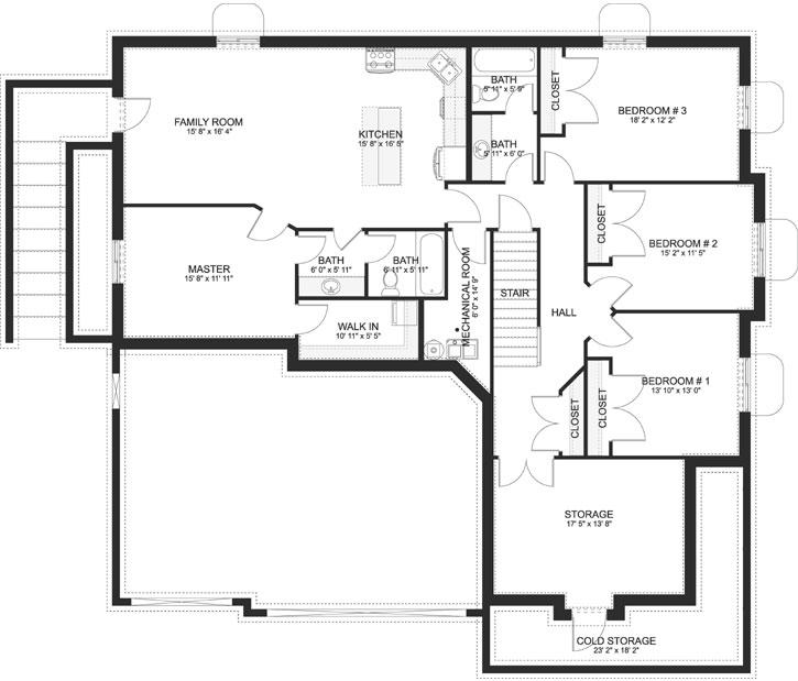 Craftsman House Plan 3 Bedrooms 2 Bath 2244 Sq Ft Plan 99 109