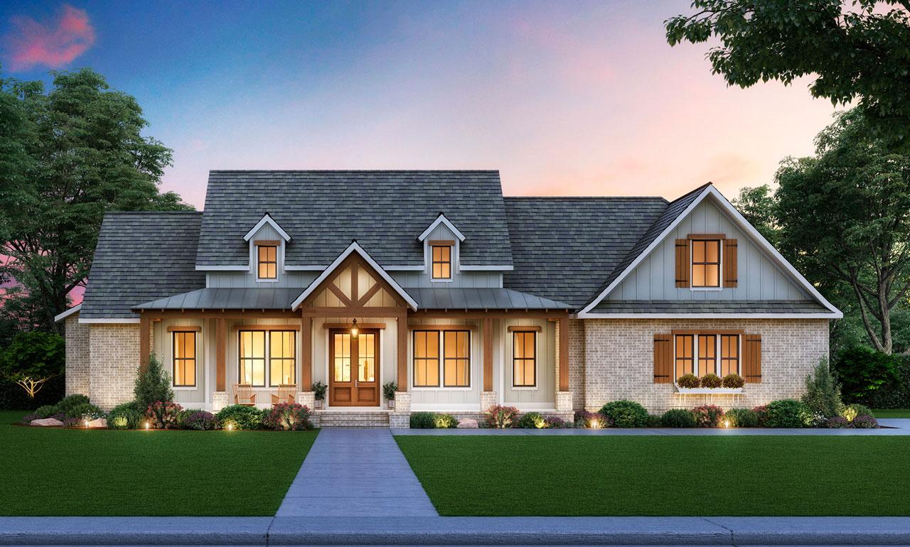 Modern-Farmhouse Style House Plans 91-176
