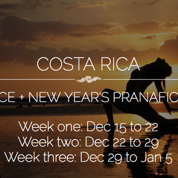 COSTA RICA:  Regenerate – Prana Vinyasa Winter Solstice Retreat