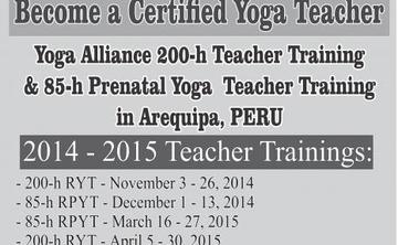 PERU - 200 RYT VINYASA FLOW YOGA TEACHER TRAINING - Approved by Yoga Alliance -