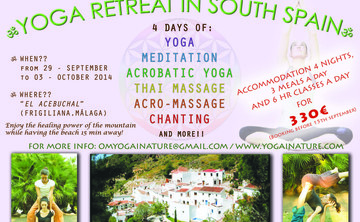 YOGA – ACROBATIC YOGA- THAI MASSAGE RETREAT IN SOUTH SPAIN!! (10% off)