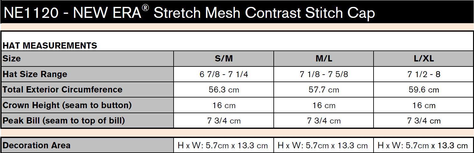 NEW ERA STRETCH MESH CONTRAST STITCH CAP Sizing Chart. If the sizing chart  is not present b53ee6ae60b2