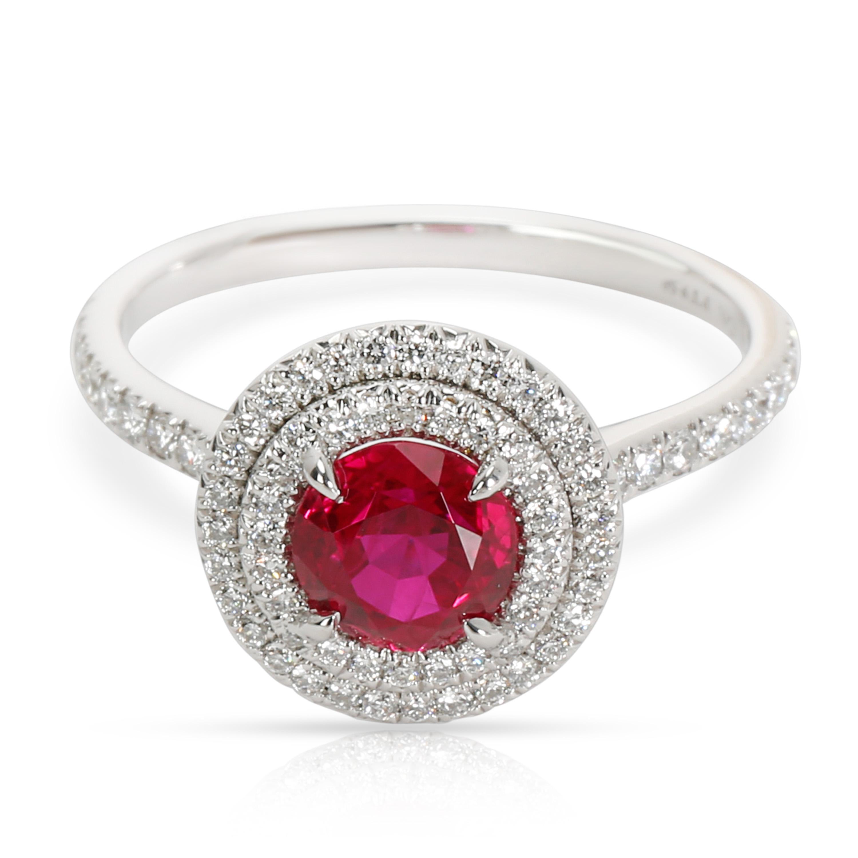 3f3369640 Tiffany & Co. Platinum Ruby Soleste Diamond Ring (0.36 cts) | eBay