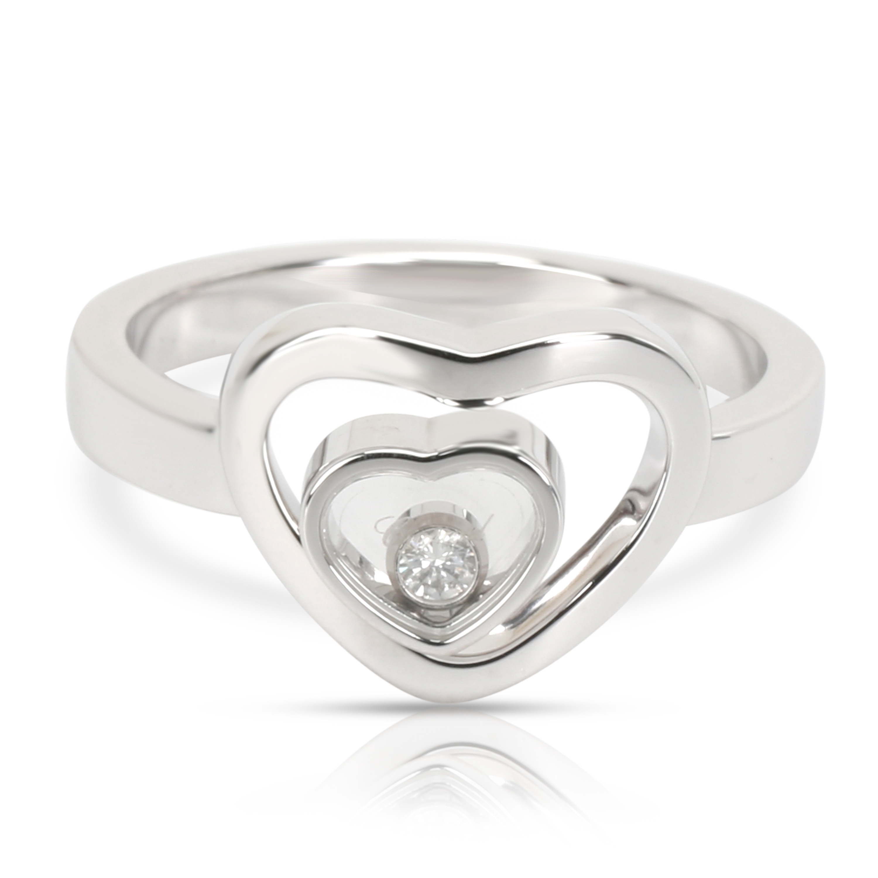 71a5a712cd4a1 Chopard Happy Diamonds Double Heart Ring in 18K White Gold 0.05 CTW ...