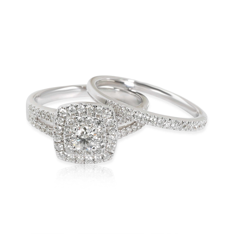 Zales Wedding Sets.Details About Zales Double Halo Diamond Wedding Set In 14k White Gold I I2 0 75 Ctw