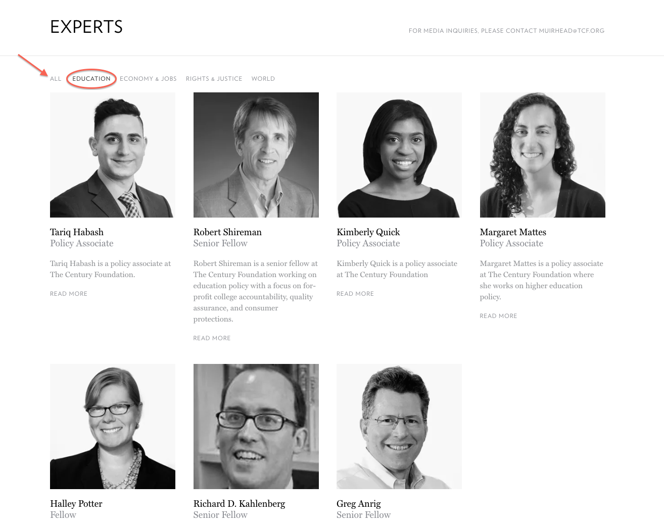 experts page