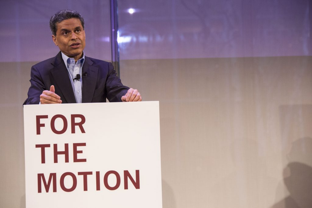 FAREED ZAKARIA AT debates of the century. Photo taken by author.