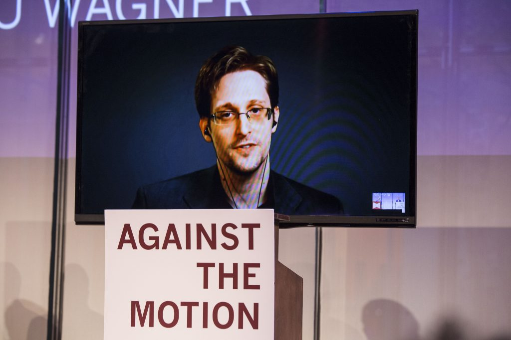 Edward Snowden Via Skype at Debates of the Century. Photo taken by author.