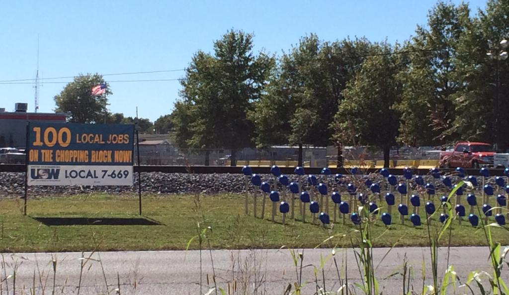 Honeywell lockout in Metropolis, IL. Each hardhat represents a worker who is locked out. Photo Taken By Author.