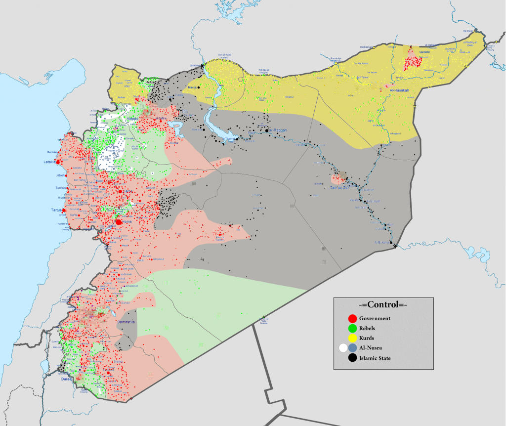 Source: Wikimedia, Cities and towns during the Syrian Civil War. View original source for image detail.
