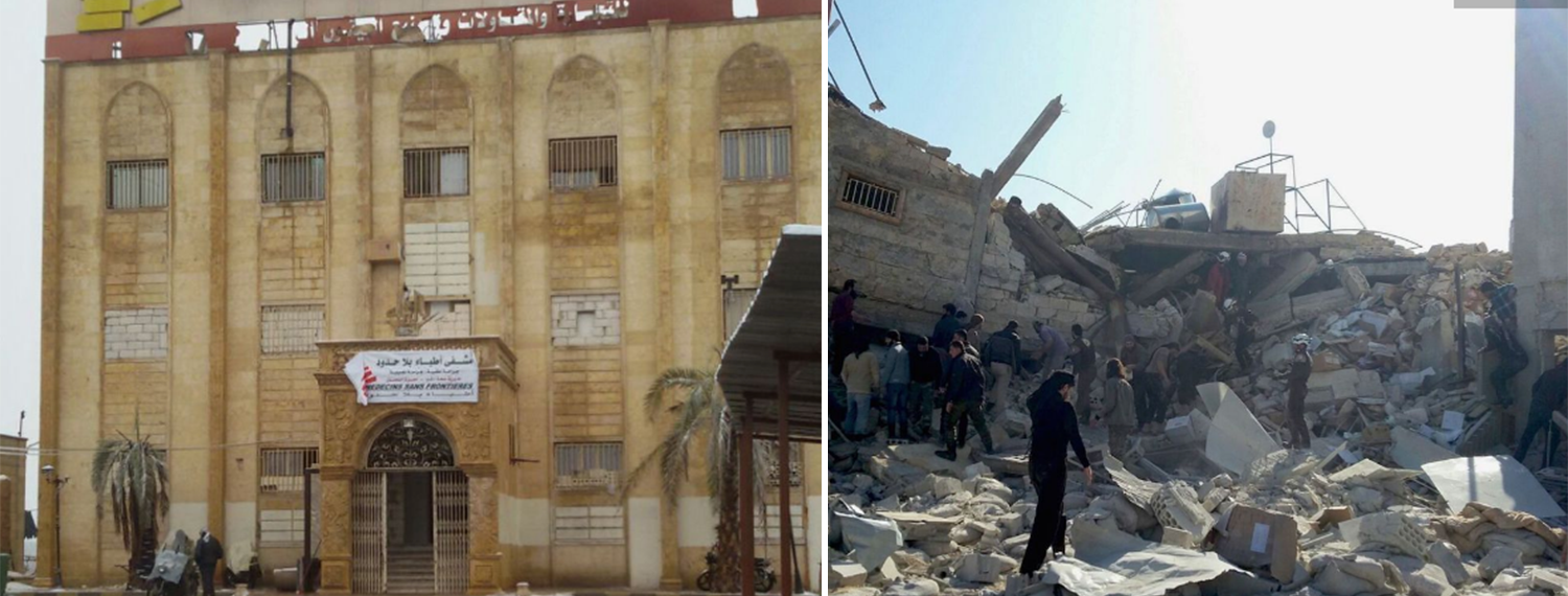 Caption: Before (left) and after (right) pictures of a Médecins Sans Frontières hospital in the Idlib province of Northern Syria. The after picture was taken February 15, 2016 following a series of missile attacks on the hospital that left at least 11 people, including five medical professionals, dead in the 30-bed health facility. Source: Médecins Sans Frontières