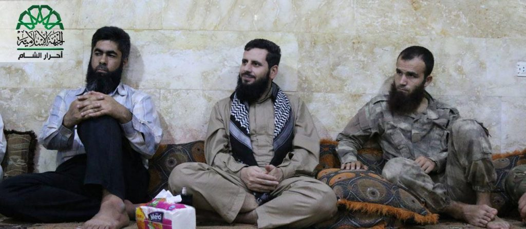 Ahrar al-Sham leader Muhannad al-Masri (Abu Yehya al-Hamawi) visits commanders in southern Idlib. Source: Screenshot taken by Author/@ Ahrar_Lens.
