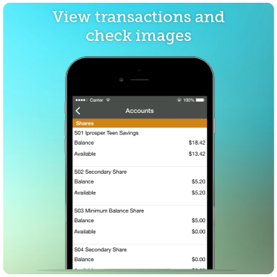 Mobile Banking Screenshot 2 - View transactions and check images.
