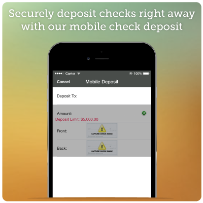 Mobile Banking Screenshot 4 - Securely deposit checks and right away with our mobile check deposit.
