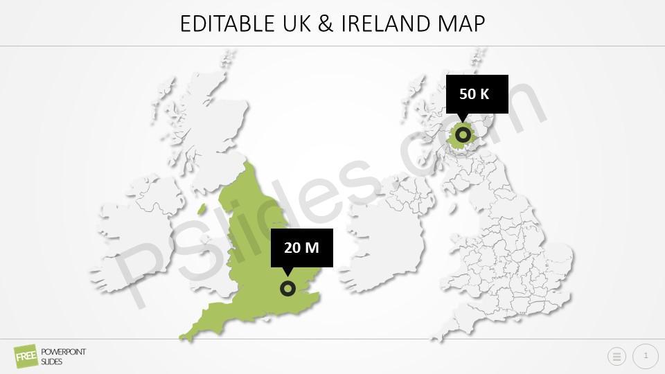 Free Editable UK Ireland PowerPoint Map