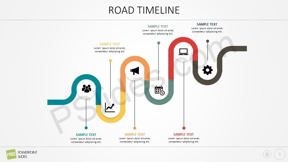 Free Curved Road Powerpoint Timeline