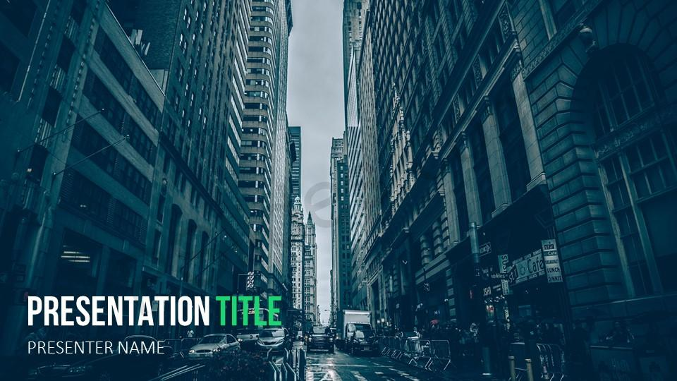 Free Blue City Powerpoint Template