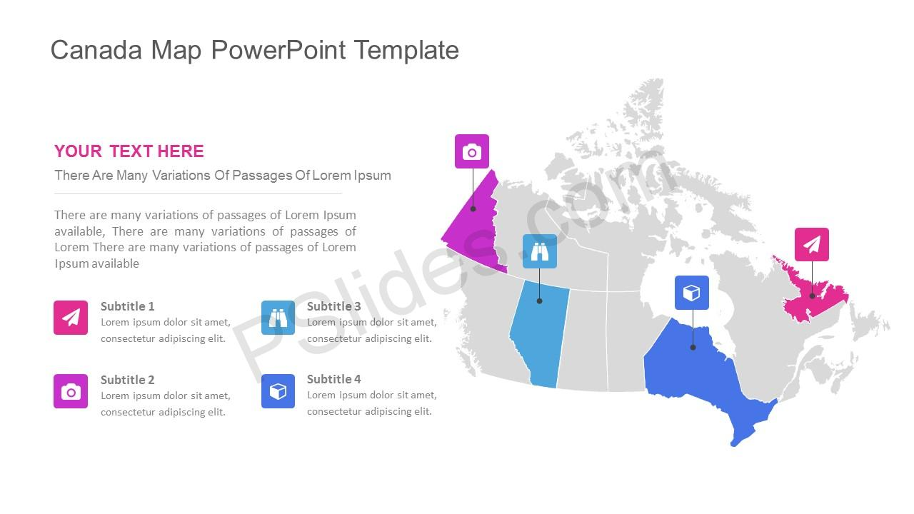 canada map powerpoint template pslides. Black Bedroom Furniture Sets. Home Design Ideas