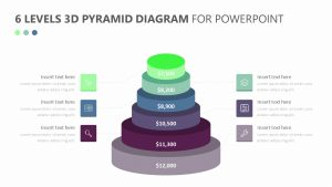 6 Levels 3D Pyramid Diagram for PowerPoint