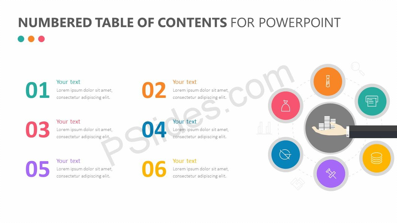 Numbered Table Of Contents For PowerPoint Pslides - Table of contents in power point