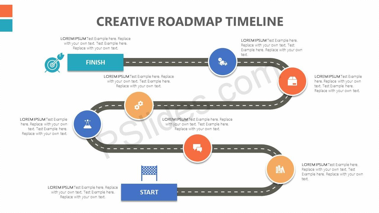 Creative Roadmap Powerpoint Timeline Pslides