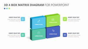 3D 4 Box Matrix Diagram for PowerPoint