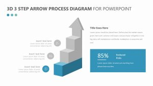 3D 3 Step Arrow Process Diagram for PowerPoint