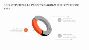 3D 3 Step Circular Process Diagram for PowerPoint