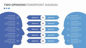 Two Opinions PowerPoint Diagram
