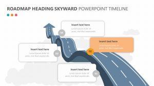 Roadmap Heading Skyward PowerPoint Timeline