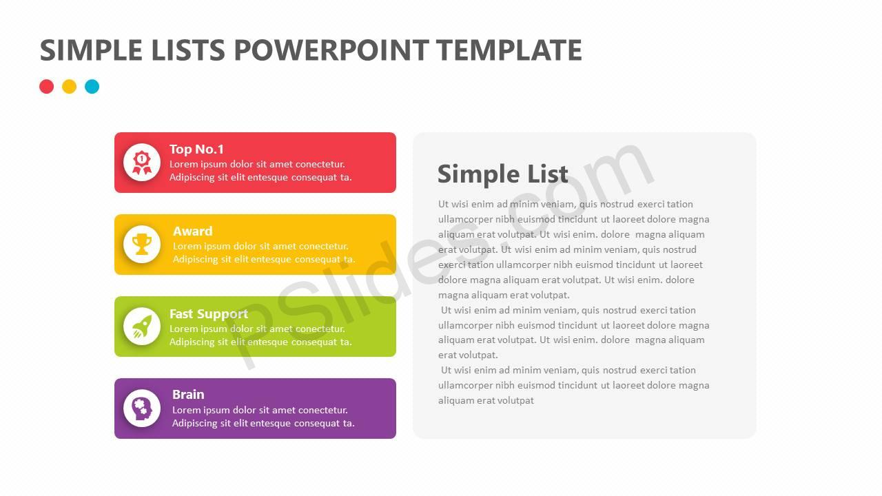 Simple lists powerpoint template pslides simple lists powerpoint template slide1 toneelgroepblik Image collections