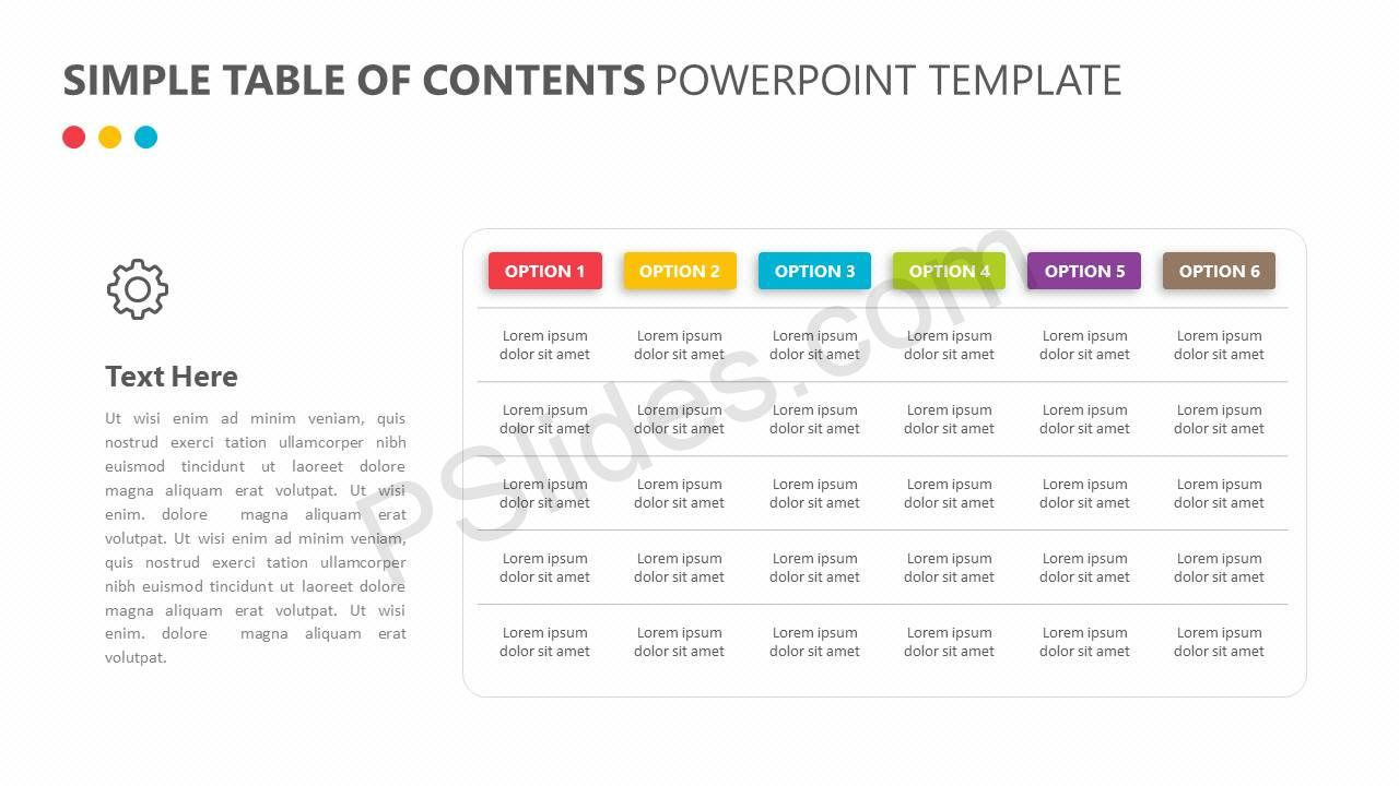 simple table of contents powerpoint template pslides