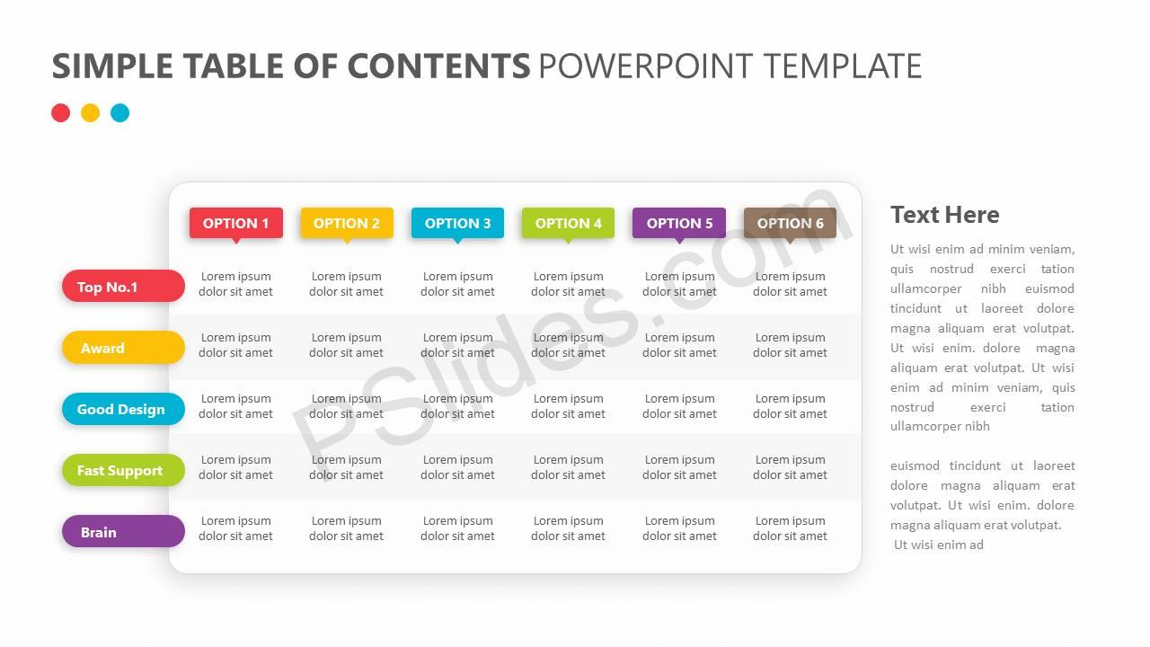 Simple Table of Contents PowerPoint Template - Pslides