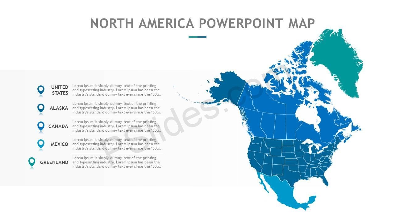 Map of us and canada for powerpoint