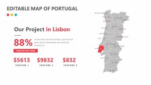Editable Map of Portugal
