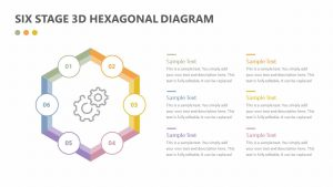 Six Stage 3D Hexagonal Diagram for PowerPoint