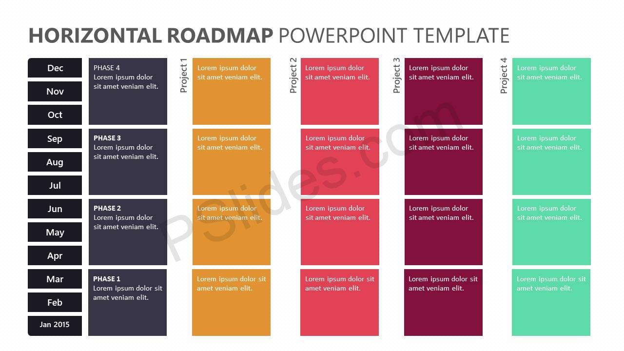 horizontal roadmap powerpoint template pslides. Black Bedroom Furniture Sets. Home Design Ideas