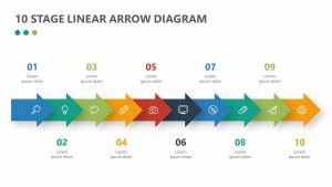 10 Stage Linear Arrow Diagram for PowerPoint