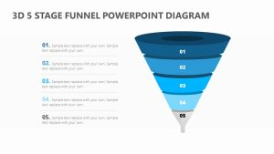 3D 5 Stage Funnel PowerPoint Diagram