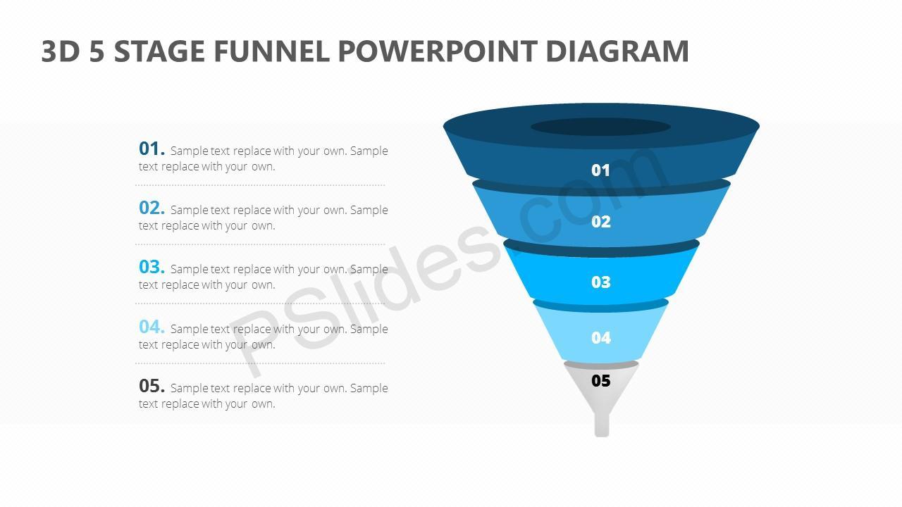 3d 5 stage funnel powerpoint diagram pslides. Black Bedroom Furniture Sets. Home Design Ideas