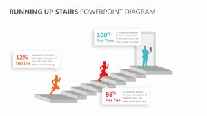 Running Up Stairs PowerPoint Diagram