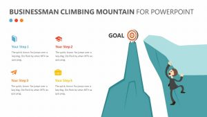 Businessman Climbing Mountain PPT